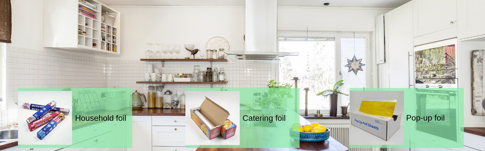 pictures of kitchen with kitchen foils in roll type, pop up type