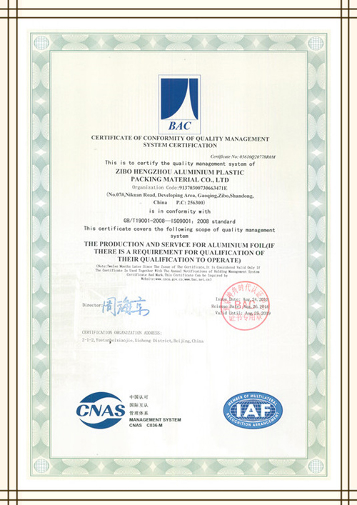 picture of ISO certificate