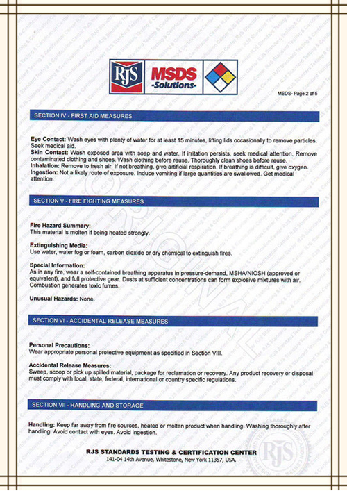 PICTURE OF MSDS