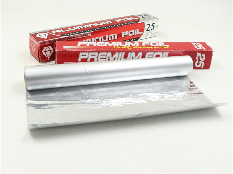 aluminium foil roll unfolded with 2 red box