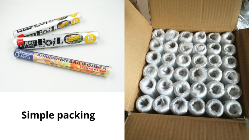 aluminium foil roll simple packing with film or paper