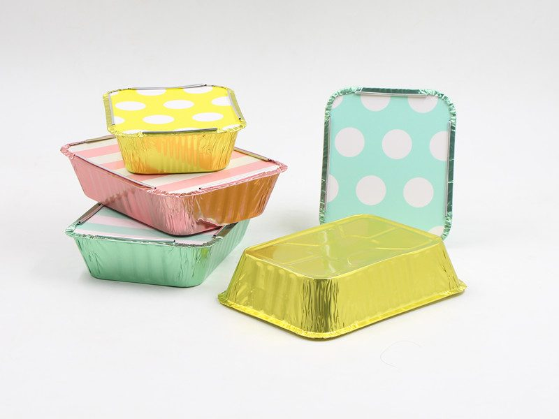 5 colored foil containers with lids