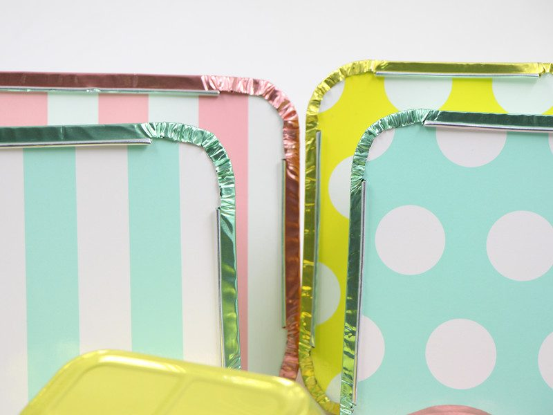 colored lids of colored foil containers with lids