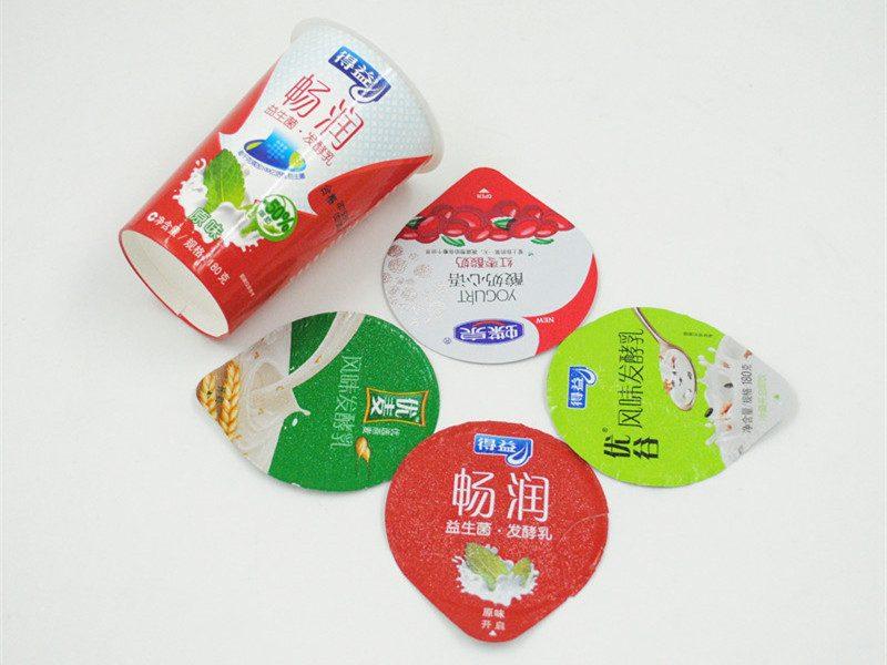 die cut aluminum yogurt lids with yogurt cup