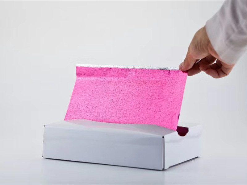 Pop up hair dye foil sheets in rose pink